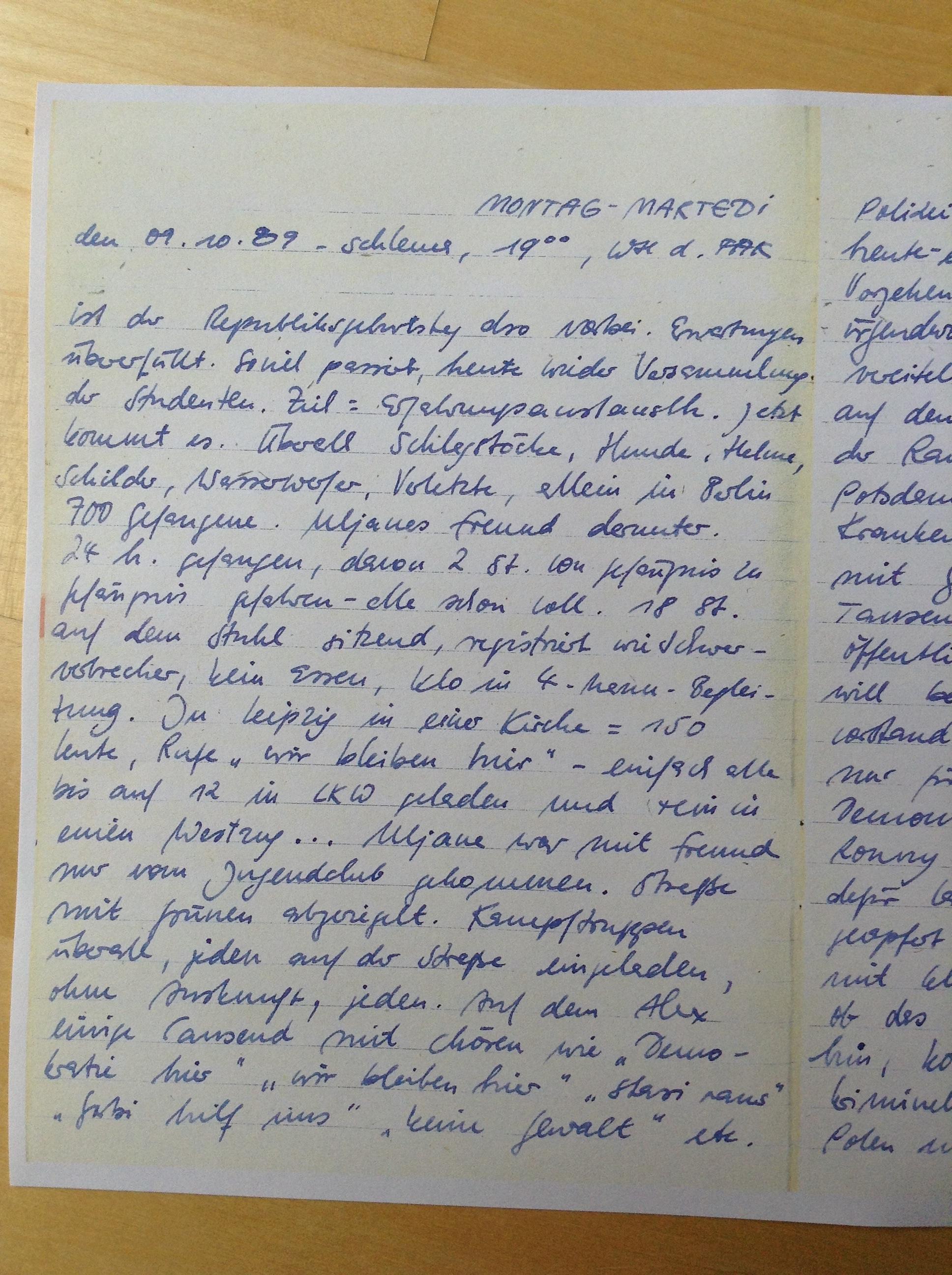 Tagebuch 09.10.1989