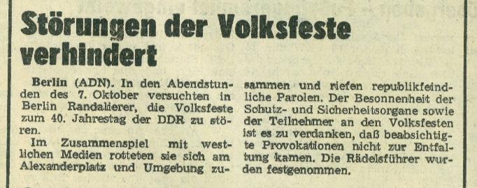 Ausschnitt Freie Presse 9.10.1989, Berichterstattung zum 7.10.89 (40. Republikgeburtstag) in Berlin