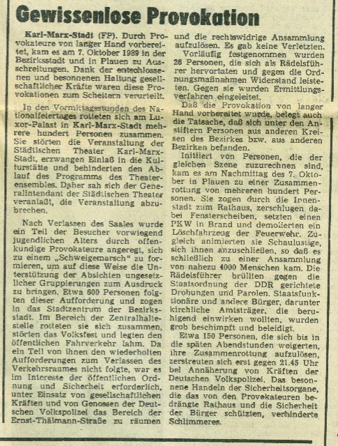 Freie Presse, 09.10.1989 zu Protestaktionen am Republiksgeburtstag