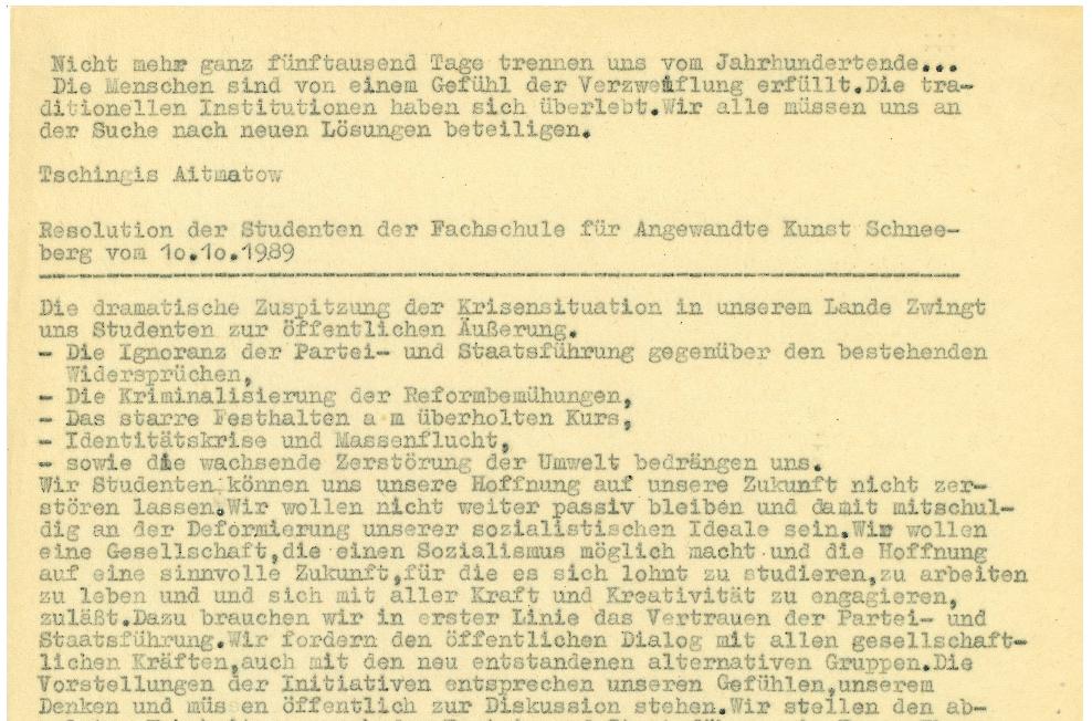 Resolution der Student*innen der FAK Schneeberg vom 10.10.1989