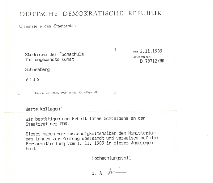 Antwort des Staatsrates der DDR auf unsere Studentenresolution vom 10.10.1989