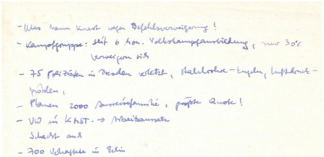 Notiz-Zettel mit Informationen Dritter zu Vorfällen am 7.10.1989